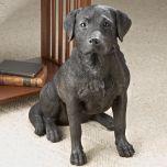 Black Lab Dog Statue