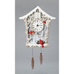 Winter Wonderland Cardinal Cuckoo Clock