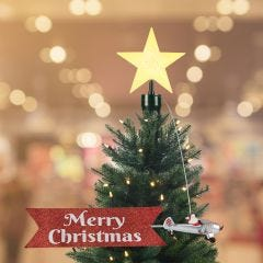 Santa's Biplane Animated Tree Topper