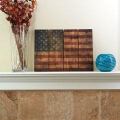 "Wooden American Flag Wall Art (22"" x 16"")"