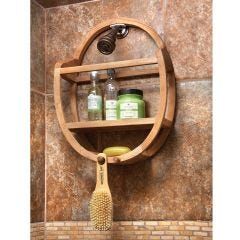 Oval Teak Shower Organizer