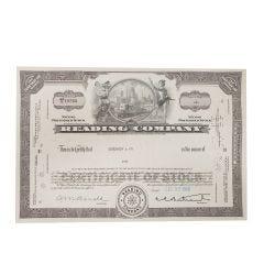 Reading Railroad Company Certificate of Stock