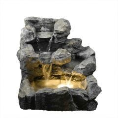 Stacked Rock Cascading Indoor/Outdoor Water Fountain with Illumination