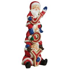 The Christmas Crew Stacked Santa's LED Illuminated Statue