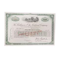Baltimore and Ohio Railroad Company Certificate of Stock