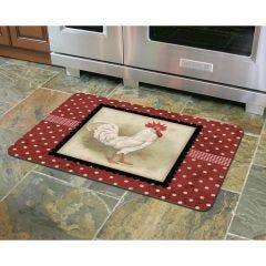 Polka Dot White Rooster Premium Comfort Mat