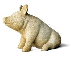 Barnyard Pig Fiber Stone Statue