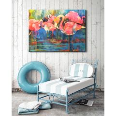 Weatherproof Canvas Art - Flirty Flamingos