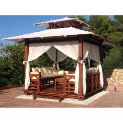 Fully Furnished Handcrafted Teak Gazebo