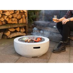 Artificial Stone Fire Bowl with Grill Grate