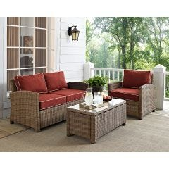 3 Seat Conversation Set Outdoor Wicker Furniture (seats 3)