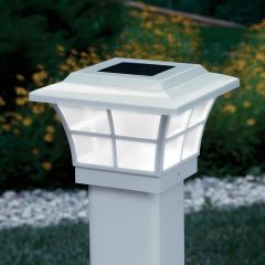Prestige Solar Powered Lighted Post Caps (White)