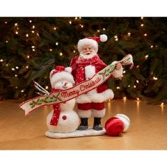 Merry Christmas with Santa and Snowman Figurine