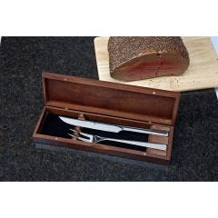 Two-Piece Cutlery Carving Set in a Walnut Box