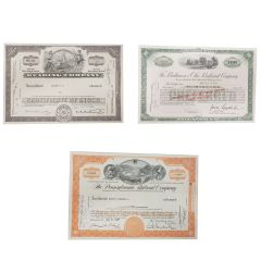 Complete Set of Vintage Railroad Certificates of Stock