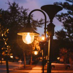 Shepherd's Crook Outdoor Solar Lamp with Post