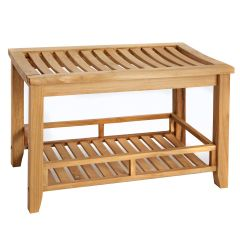 Estate Teak Bath Bench with Shelf